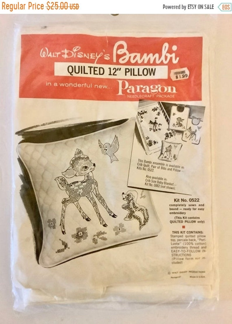 Paragon Vintage 1960s New Sealed Walt Disney/'s Bambi 12 Quilted Pillow Kit Embroidery Kit