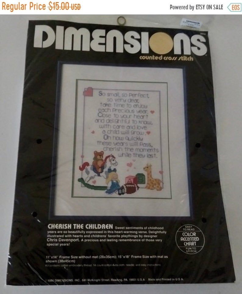 On Sale Dimensions Counted Cross Stitch Kit, Cherish The Children, Nursery  Art, Baby's Room Cross Stitch, Vintage 1986, New in Package