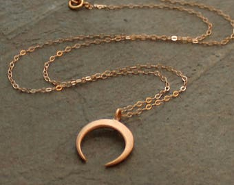 Gold Crescent Necklace - Rose Gold Crescent Necklace - Moon Necklace - Silver Crescent Necklace - Double Horn Necklace - Tusk Necklace -