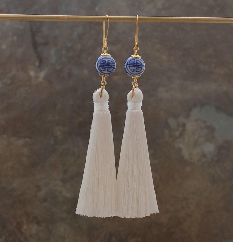 White Tassel Earrings Long Tassel Earrings Boho Silk Tassel Earrings Chinoiserie Earrings Statement Earrings Tassle Earrings
