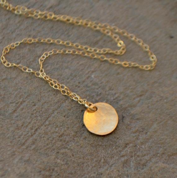 Goldene Schallplatte Halskette Kleine Scheibe Halskette Silberne Scheibe Halskette Zierliche Gold Schichtung Kette Minimalistisch Kleine