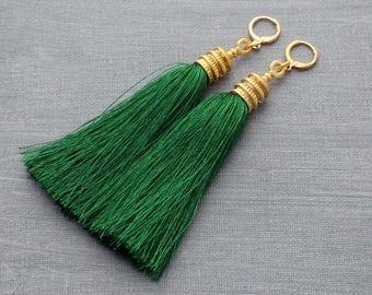 Tassel Earrings, Green Tassel Earrings, Gold Tassel Earrings, Tassle Earrings, Statement Earrings, Gold Hoop Earrings, Long Earring