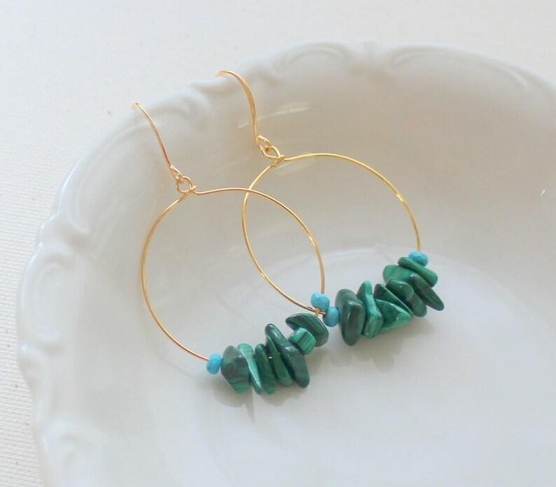 Bohemian Earrings Gold Hoop Earring, Malachite Earrings Green Earrings Beaded Hoop Earrings Hoop Earrings Hippie Earrings