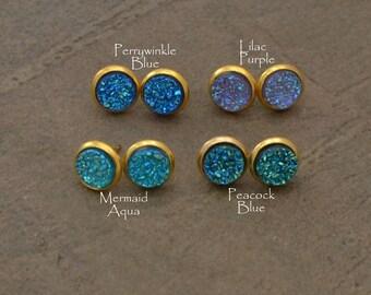 Shades of Blue 10mm Druzy Stud Earrings - Druzy Post Earrings - Blue Druzy Earrings - Aqua Stud Earrings