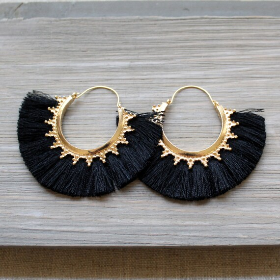 Tassel Earrings Gold Hoop Earrings Fringe Earrings Turquoise Tassel Earrings Tassle Earrings Boho Earrings Tassel Hoop Earrings