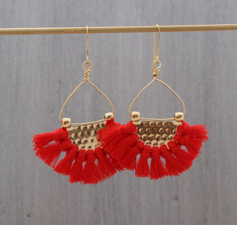 Tassle Earrings  Red Tassle Earrings  Boho Earrings  Tassel Coral Red
