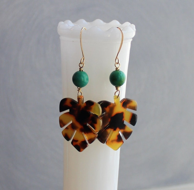 b9b1817c889a9 Monstera Leaf Earrings - Tortoise Earrings - Tortoiseshell Earrings -  Tortoise Shell Earrings - Boho Earrings - Leaf Earrings - Turquoise