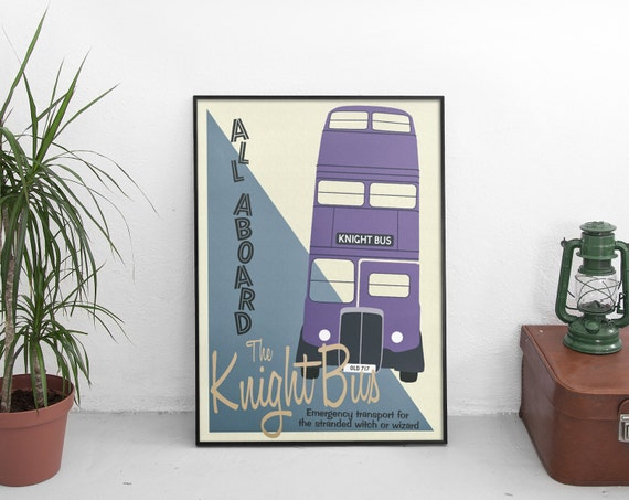 Harry Potter Knight Bus Poster Print   Vintage Wizarding Travel Transport Poster by Etsy