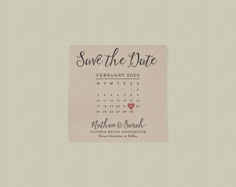 Fau 2020 Calendar Calligraphy Kraft Card Calendar Wedding Save the Dates // | Etsy