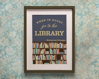 Harry Potter Library Quote Poster Print - Hermione Granger