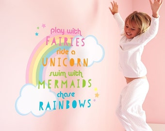 Unicorn quote wall sticker, quote wall decal, rainbow wall decal, unicorn wall decal, unicorn room decor