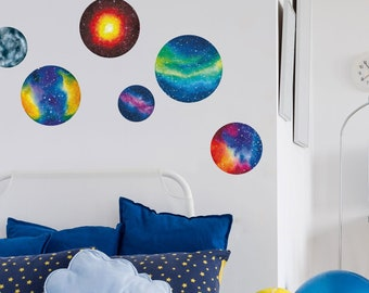 Watercolour planet wall stickers - Space wall sticker, planet wall decal, Space wall decal