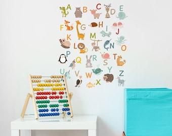 Animal alphabet wall sticker, alphabet wall decal