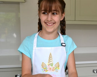Medium 2 Pieces Kids Aprons Unicorns Aliens Printed Aprons for Boys and Girls