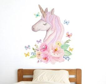 Watercolour unicorn head wall sticker, unicorn wall decal, rainbow room decor, unicorn room decor