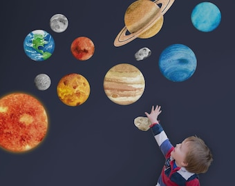 Solar system wall stickers - Space wall sticker, planet wall decal, Space wall decal