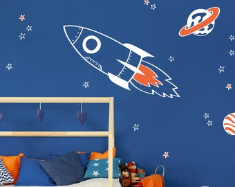Rocket and stars wall sticker pack (White) - Space wall sticker, Rocket wall decal, Space wall decal