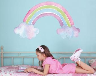 Watercolour rainbow wall sticker, rainbow wall decal, rainbow room decor, unicorn room decor, unicorn wall decal