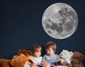 Full moon wall sticker - Space wall sticker, moon wall decal, Kids Room Decor, Space wall decal