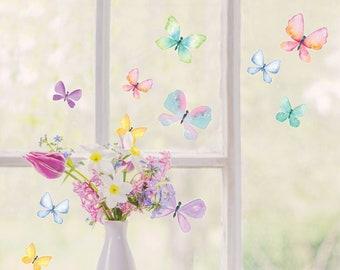 Watercolour butterfly window stickers, butterfly window decals
