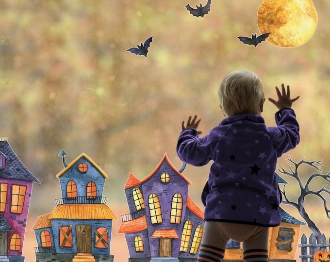 Halloween Haunted village window stickers, Halloween window stickers, Halloween decoration, Halloween window decal