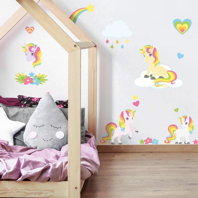 Unicorn and rainbow stickaround wall stickers, Unicorn wall decal, Rainbow  room decor, Unicorn room decor