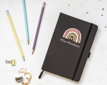 Personalised rainbow heart notebook, Personalised teacher gift