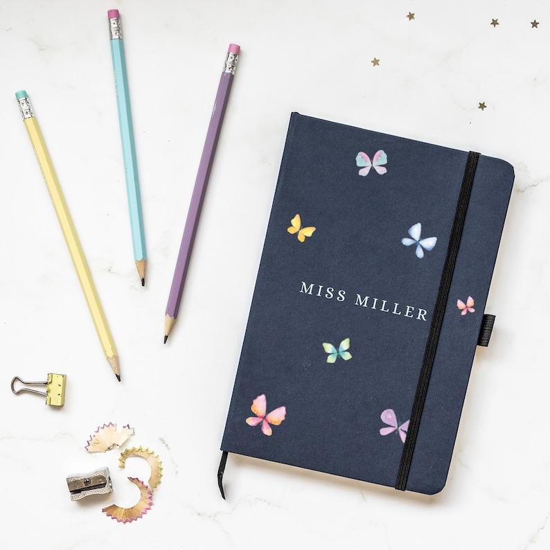 Personalised butterflies notebook Personalised teacher gift Blue notebook