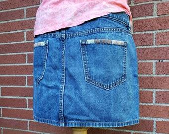 d073f965f00 Embroidered Denim Skirt   Boho Denim Mini Skirt   Upcycled Denim Skirt    Small Denim Skirt
