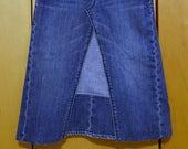 Girls Size 12 Slim Upcycled Denim Skirt Short Denim Skirt Spring Denim Boho Clothing Hippie Skirt Festival Clothing
