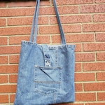 Boho Denim Tote Bag / Upcycled Blue Jean Bag