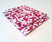 Kitchen Sponge Substitute / Small Cleaning Cloths-Set of 2 Red and White Recycled T Shirt Cloths / Red and White Kitchen Decor