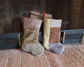 Christmas Stockings / Green Brown Christmas Stockings / Fancy Patchwork Christmas Stockings / Set of 2