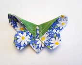 Oragami Butterfly Fabric Hair Pin / Daisies / Spring Hair Accessory / Cotton Butterfly