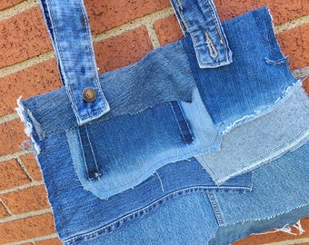 Distressed Denim Patchwork Upcycled Boho Large Tote