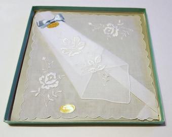 Vintage Wedding Hanky New in Box / Vintage Wedding Keepsake Gift / Something Blue