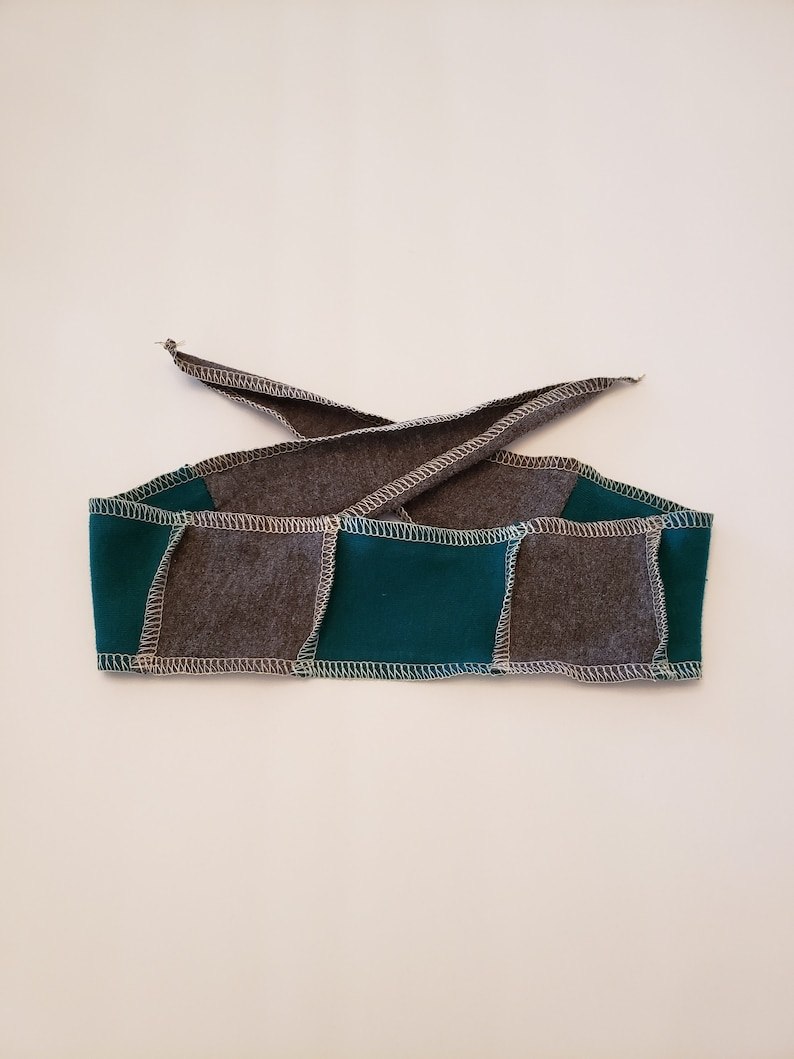 Blue and Gray Fabric Head Band / Adjustable Headband / Soft image 0