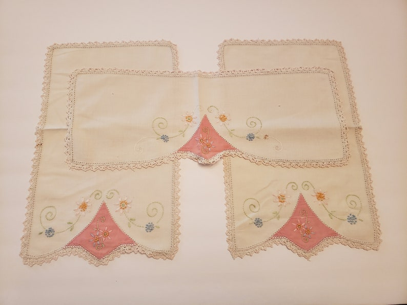 Vintage Dresser Scarves / Hand Embroidery / Shabby Chic / image 0