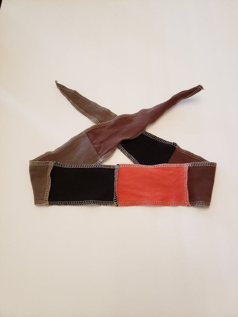 Earth Tone Fabric Headband / Adjustable Head band / Brown image 0