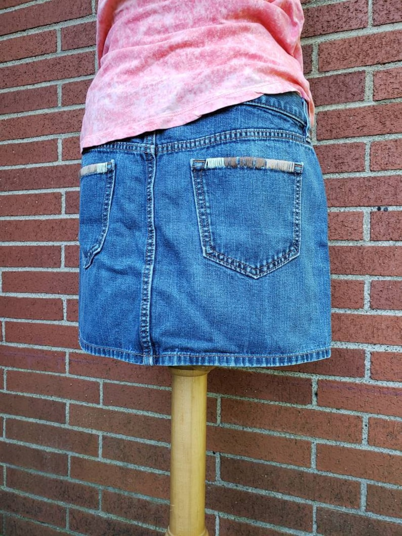 Embroidered Denim Skirt / Boho Denim Mini Skirt / Upcycled image 0