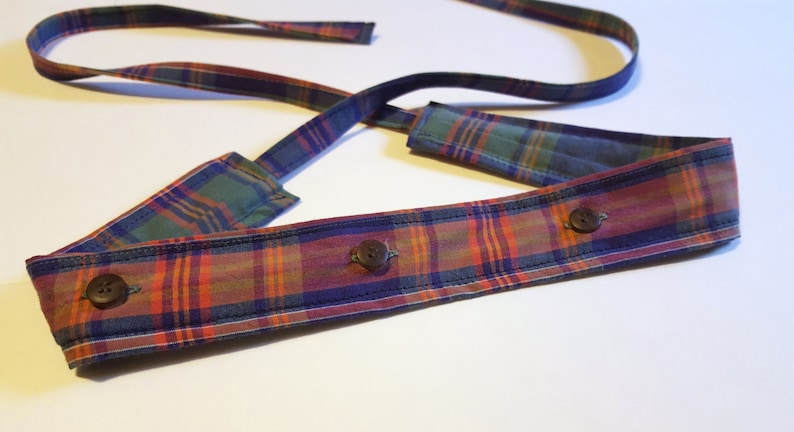Plaid Headband / Cotton Headband with Buttons / Headband made image 0