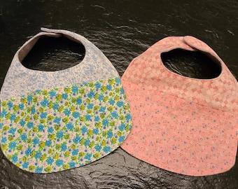 Handmade infant Soaker Bibs / Flannel Backed Cotton bibs / Baby shower gift