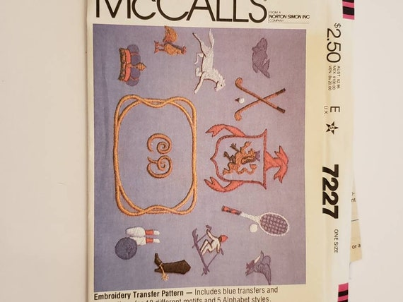 Embroidery Transfer Pattern Mccalls 7227 Embroidery Etsy