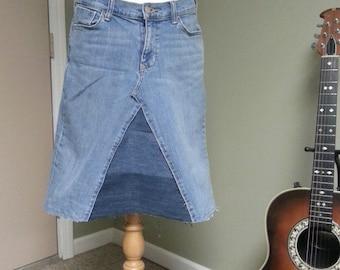 Upcycled Denim Skirt / Short Denim Skirt / Spring Denim / Boho Clothing / Hippie Skirt / Festival Clothing
