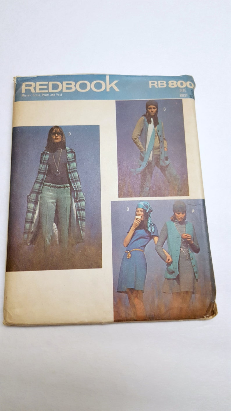 70'S Fashion Pattern / Uncut RedBook RB800 Misses Dress image 0