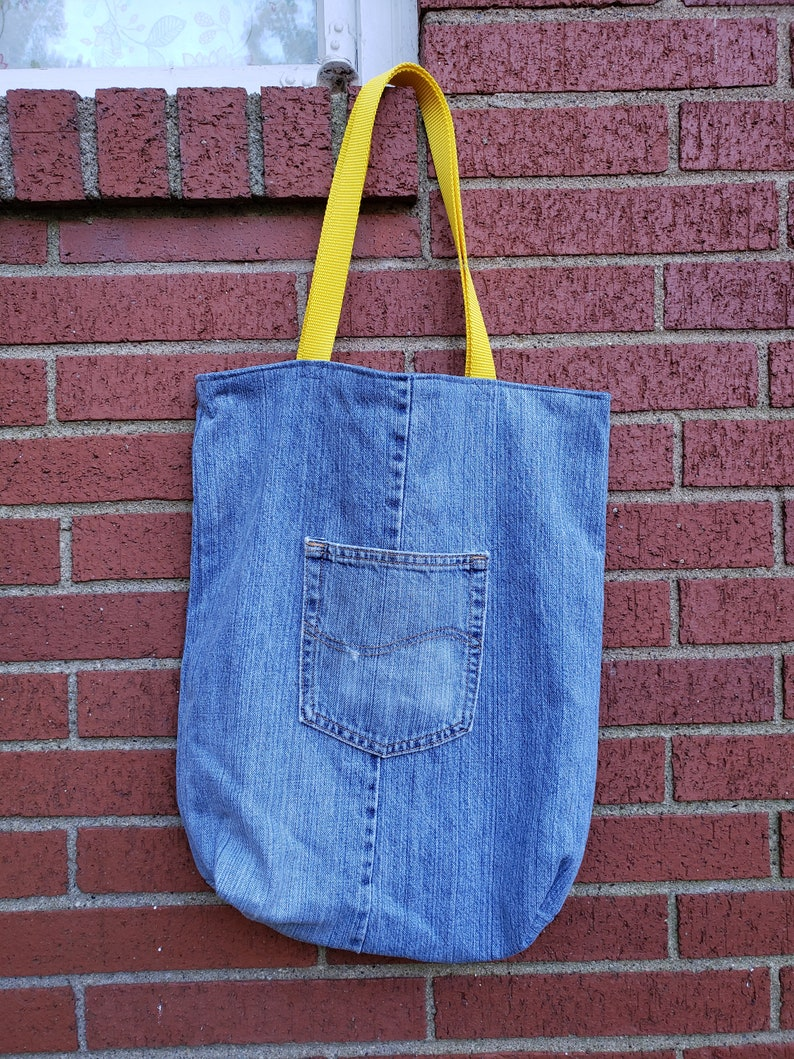 Beach Bag / Carry All Tote / Upcycled Denim Tote / Denim Tote image 0