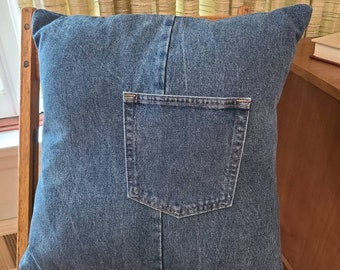 Recycled Blue Jean Pillow Cover / Repurposed T Shirt 18 inch pillow cover