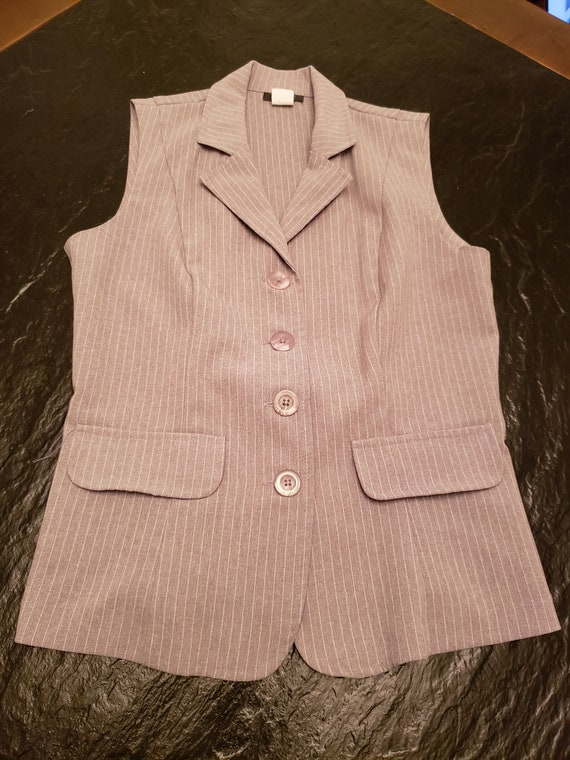 Grey Pinstripe Sleeveless Pantsuit / Vest and Pant