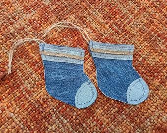 Gift Card Holders Denim Christmas Stocking / Denim Christmas Ornaments / Rustic Christmas