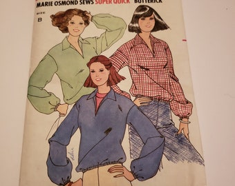 Loose Fitting Top wih Pointed Collar / Marie Osmond Sews Super Quick Butterick 6049